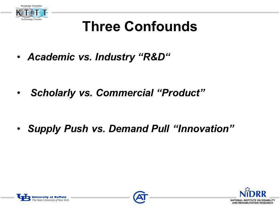Three Confounds Academic vs. Industry R&D