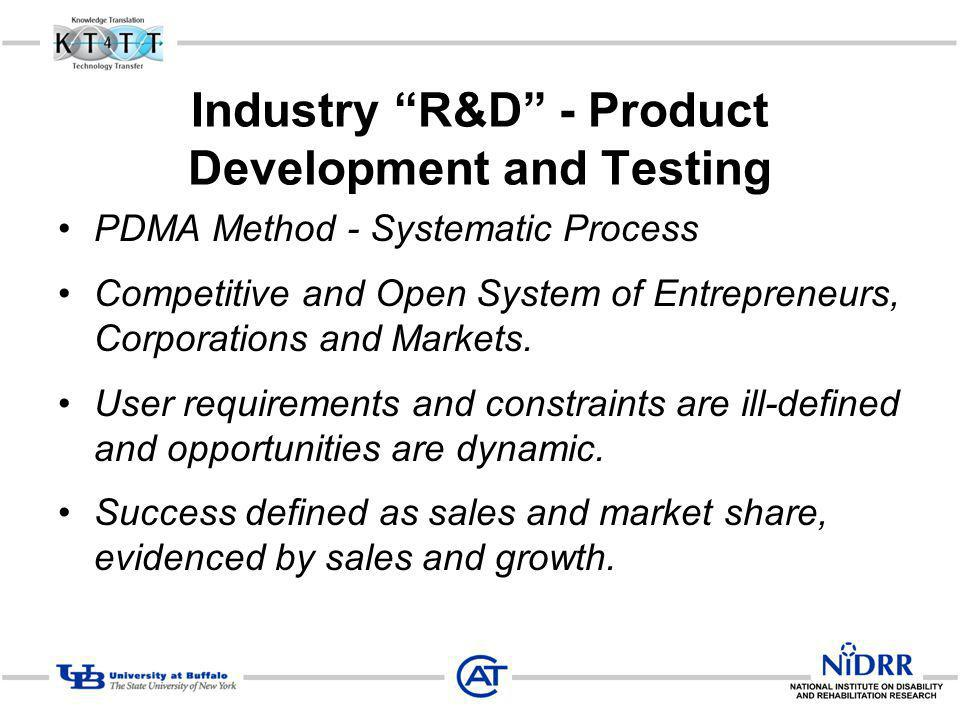 Industry R&D - Product Development and Testing