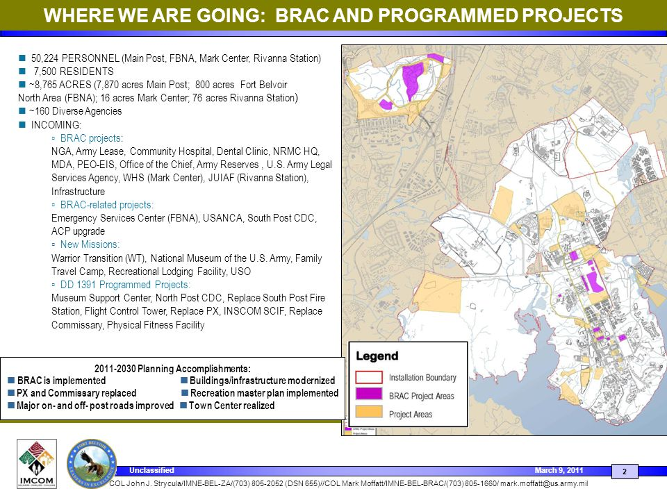 WHERE WE ARE GOING: BRAC AND PROGRAMMED PROJECTS