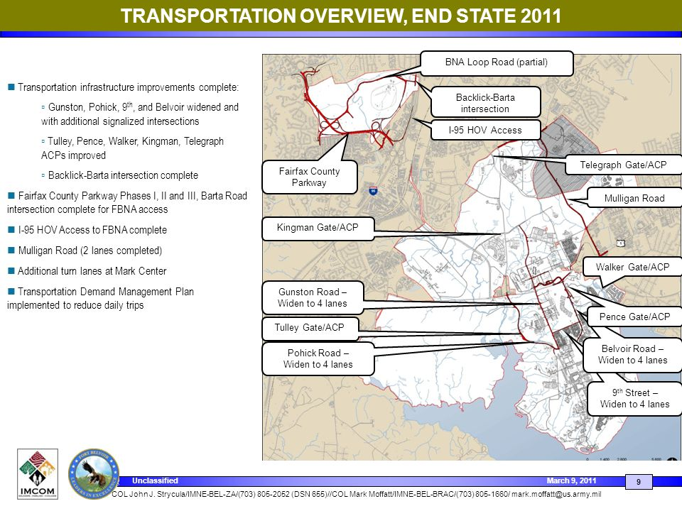 TRANSPORTATION OVERVIEW, END STATE 2011
