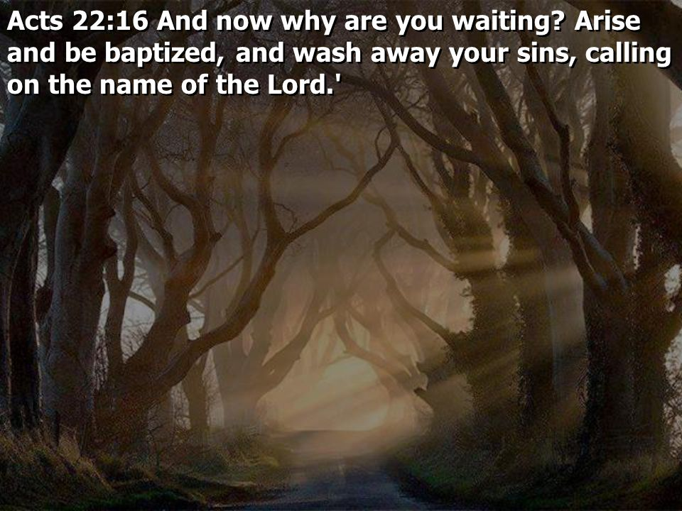 Acts 22:16 And now why are you waiting