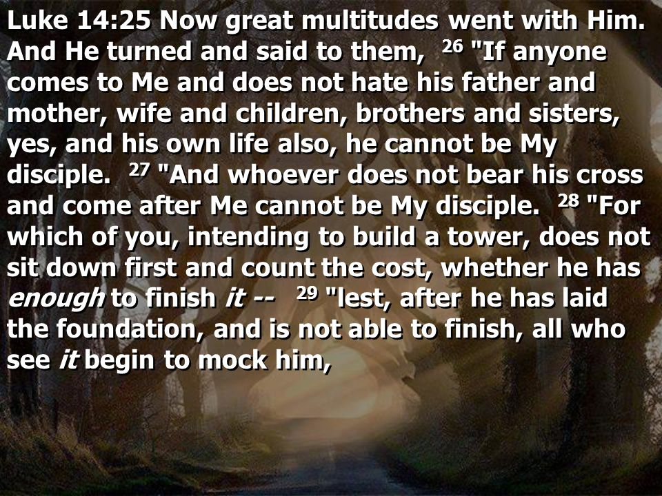 Luke 14:25 Now great multitudes went with Him