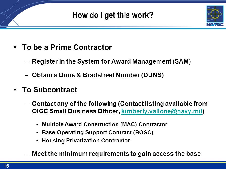 How do I get this work To be a Prime Contractor To Subcontract