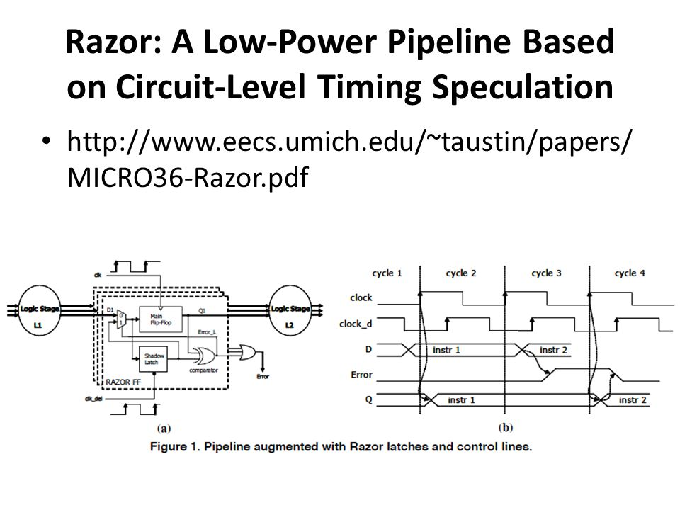 Razor: A Low-Power Pipeline Based on Circuit-Level Timing Speculation