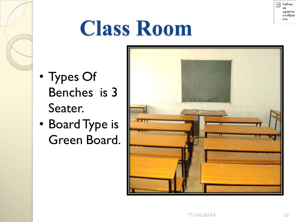 Class Room Types Of Benches is 3 Seater. Board Type is Green Board.