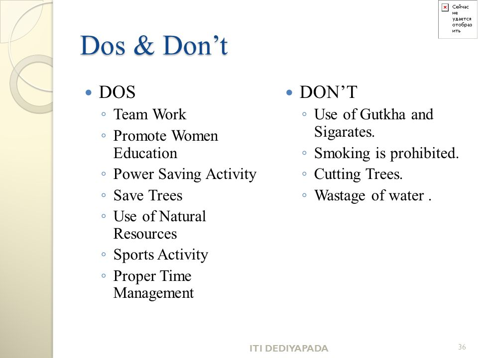 Dos & Don't DOS DON'T Team Work Promote Women Education