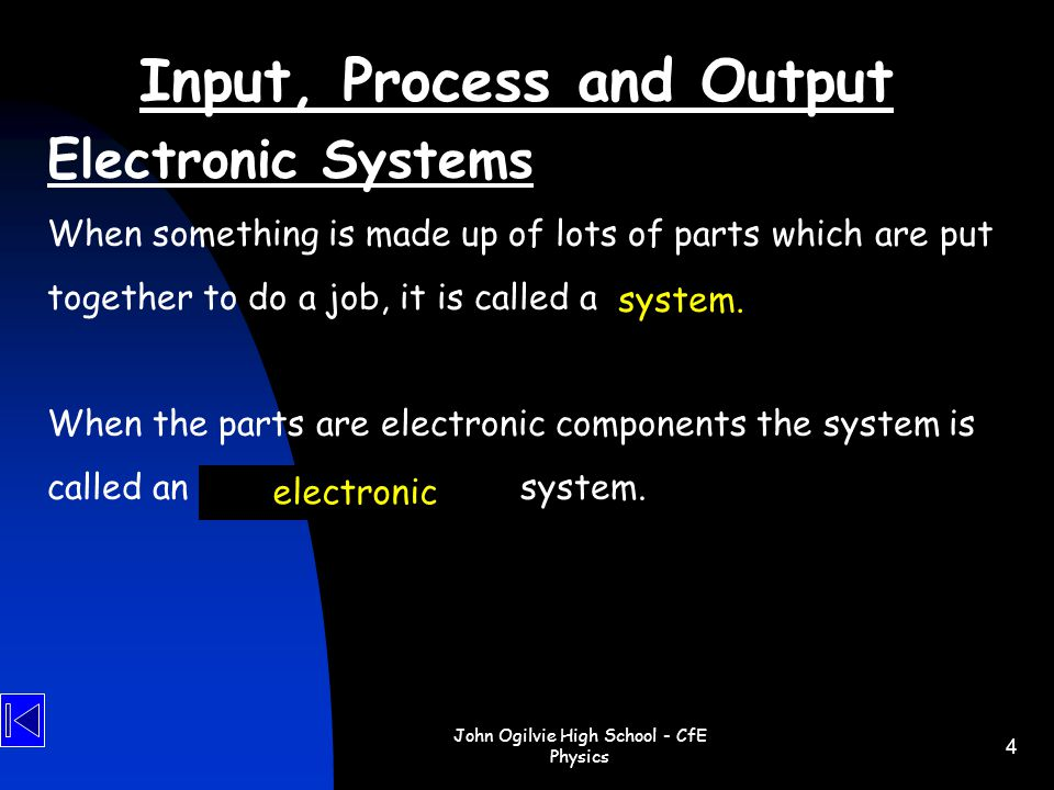 Input, Process and Output
