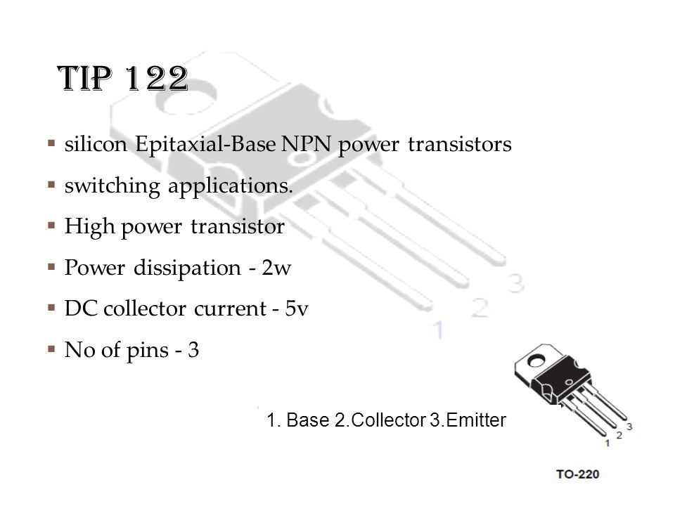 TIP 122 silicon Epitaxial-Base NPN power transistors