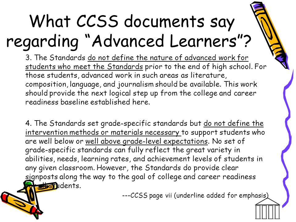What CCSS documents say regarding Advanced Learners