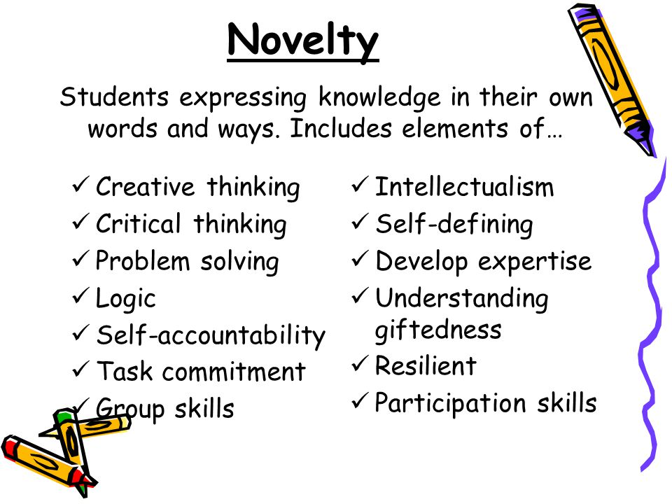 Novelty Students expressing knowledge in their own words and ways. Includes elements of… Creative thinking.