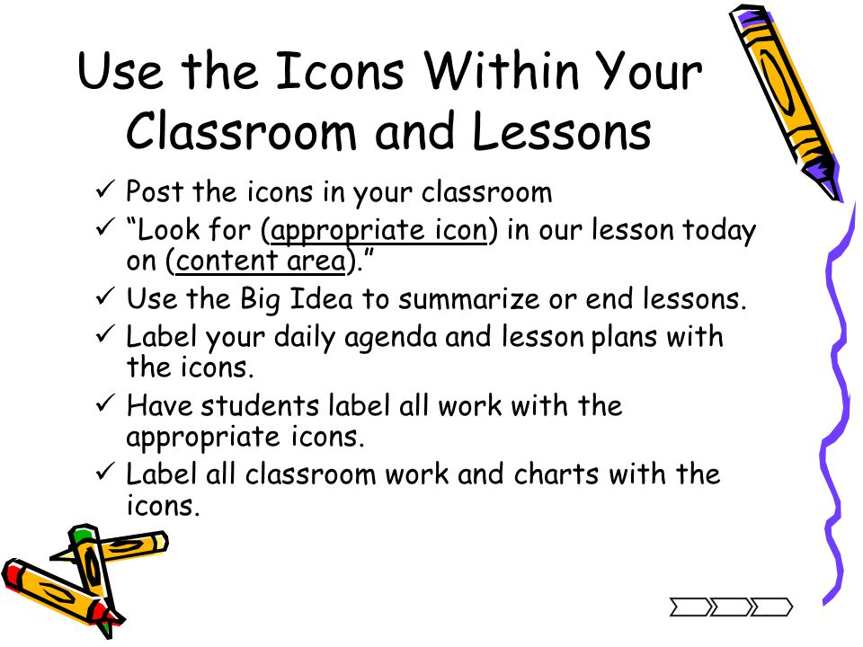 Use the Icons Within Your Classroom and Lessons