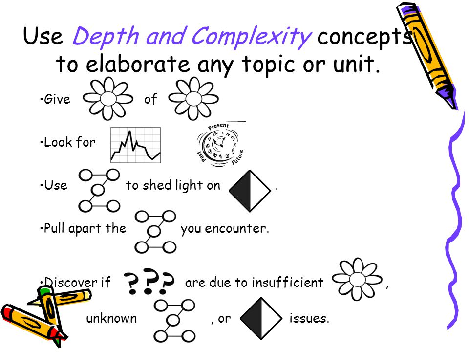 Use Depth and Complexity concepts to elaborate any topic or unit.