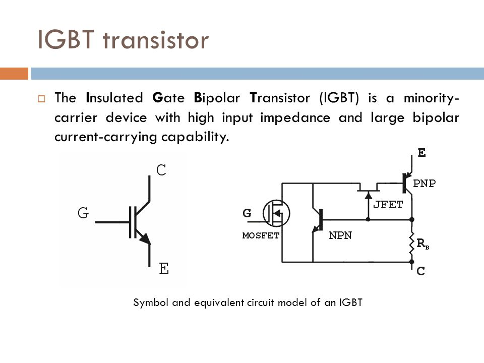 Symbol and equivalent circuit model of an IGBT