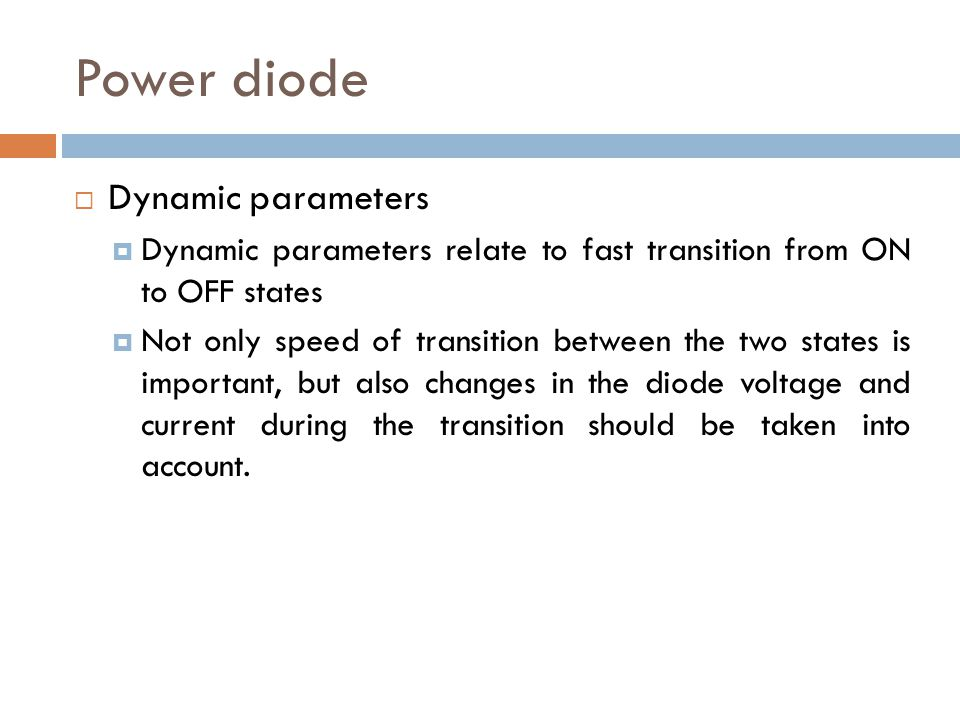 Power diode Dynamic parameters