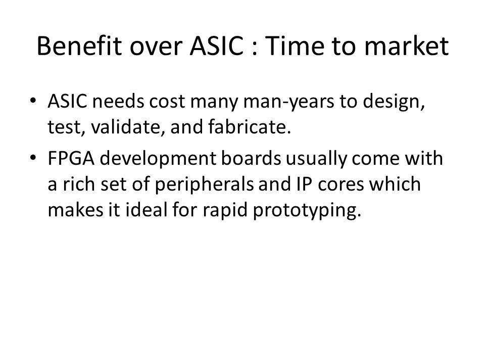 Benefit over ASIC : Time to market