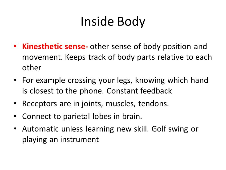 Inside Body Kinesthetic sense- other sense of body position and movement. Keeps track of body parts relative to each other.