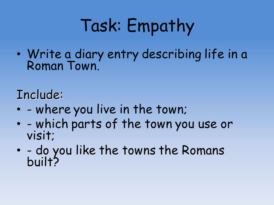 Task: Empathy Write a diary entry describing life in a Roman Town.