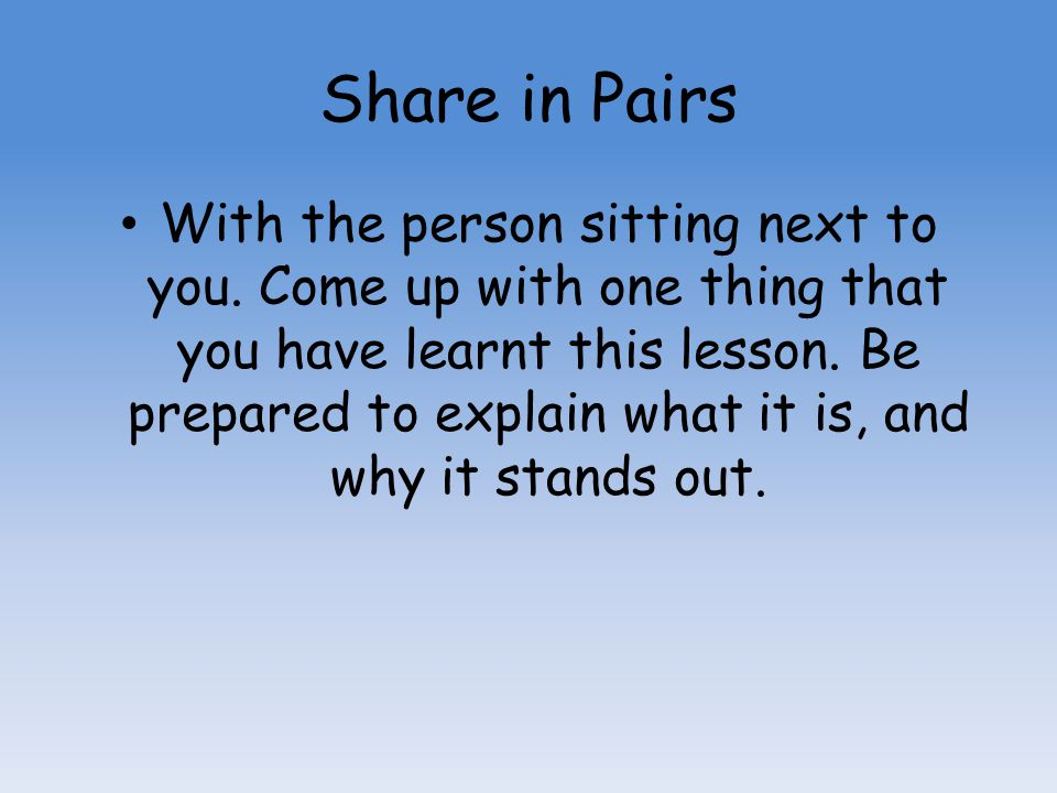 Share in Pairs
