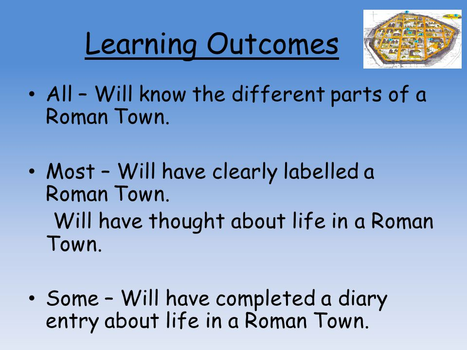 Learning Outcomes All – Will know the different parts of a Roman Town.