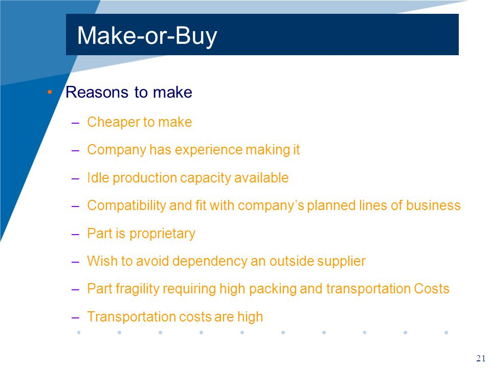 Make-or-Buy Reasons to make Cheaper to make