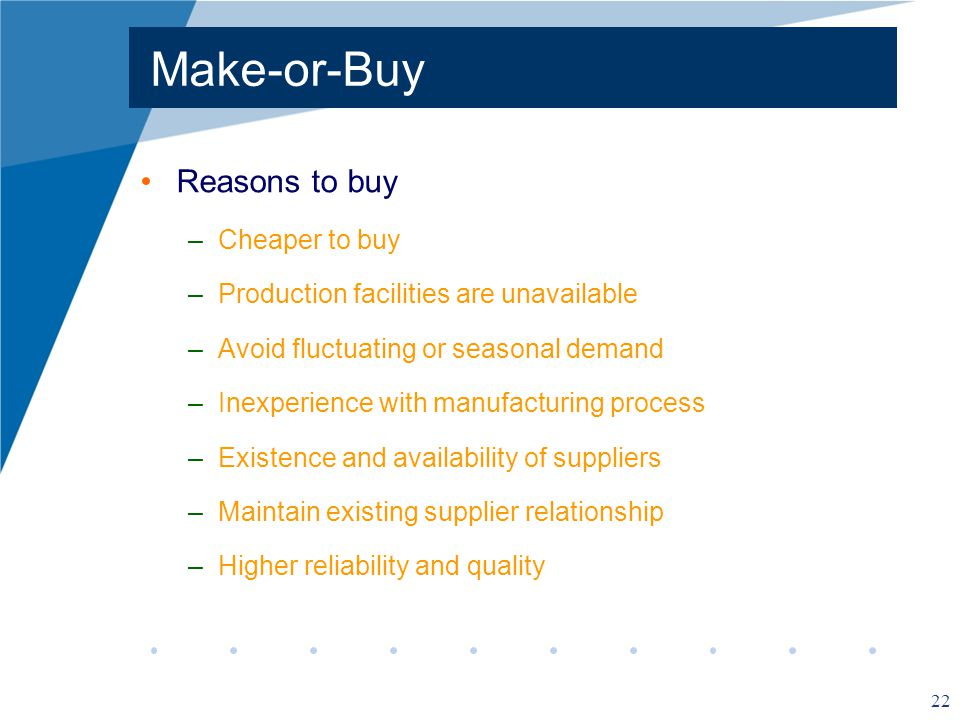 Make-or-Buy Reasons to buy Cheaper to buy