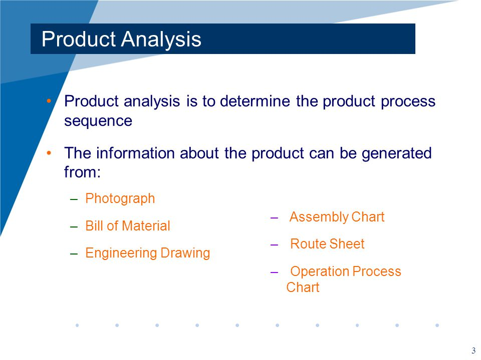 Product Analysis Product analysis is to determine the product process sequence. The information about the product can be generated from: