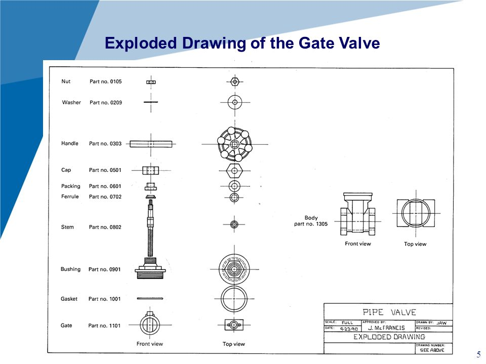 Exploded Drawing of the Gate Valve
