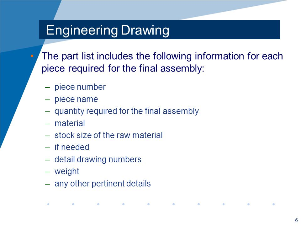 Engineering Drawing The part list includes the following information for each piece required for the final assembly:
