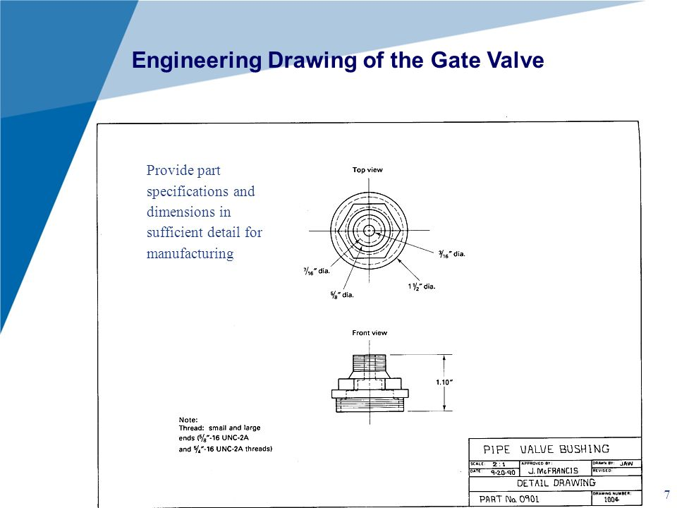 Engineering Drawing of the Gate Valve
