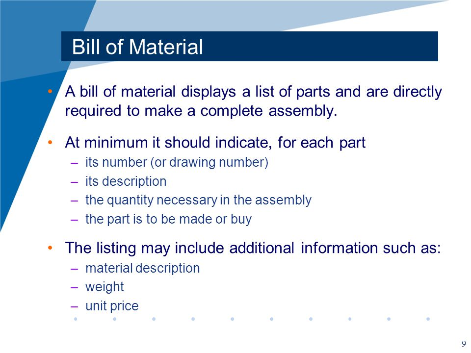 Bill of Material A bill of material displays a list of parts and are directly required to make a complete assembly.