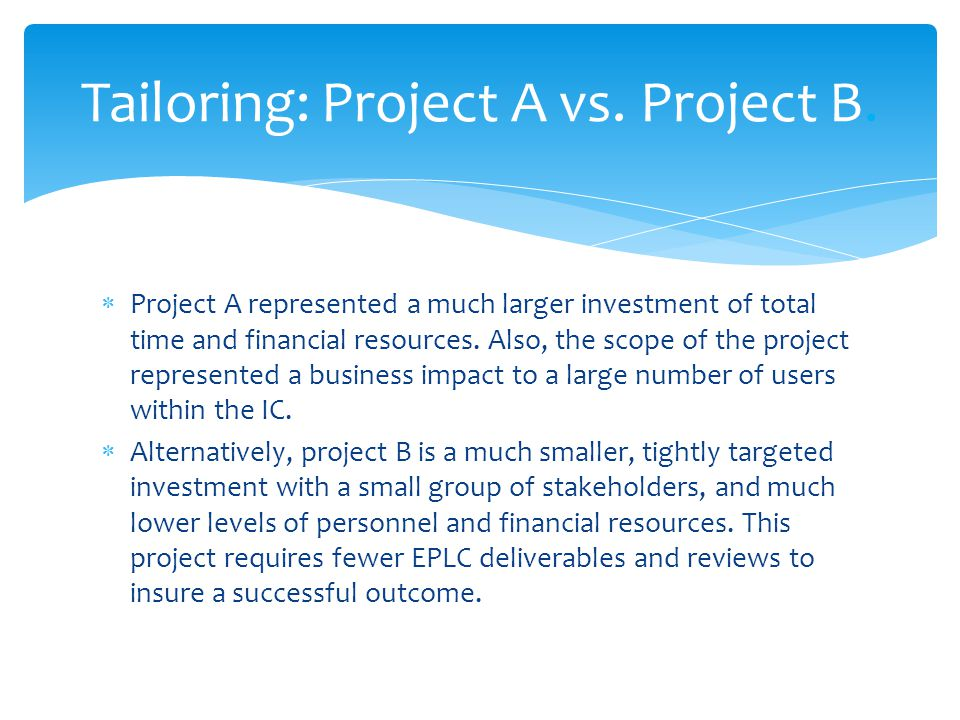 Tailoring: Project A vs. Project B.