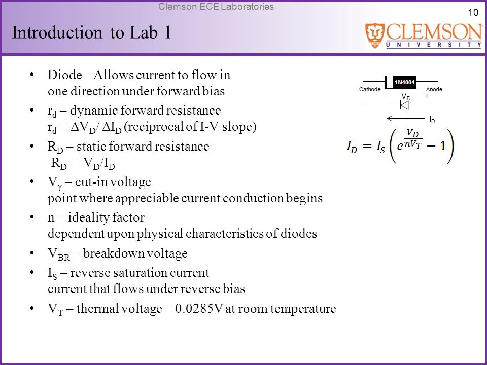 Introduction to Lab 1 Diode – Allows current to flow in one direction under forward bias.