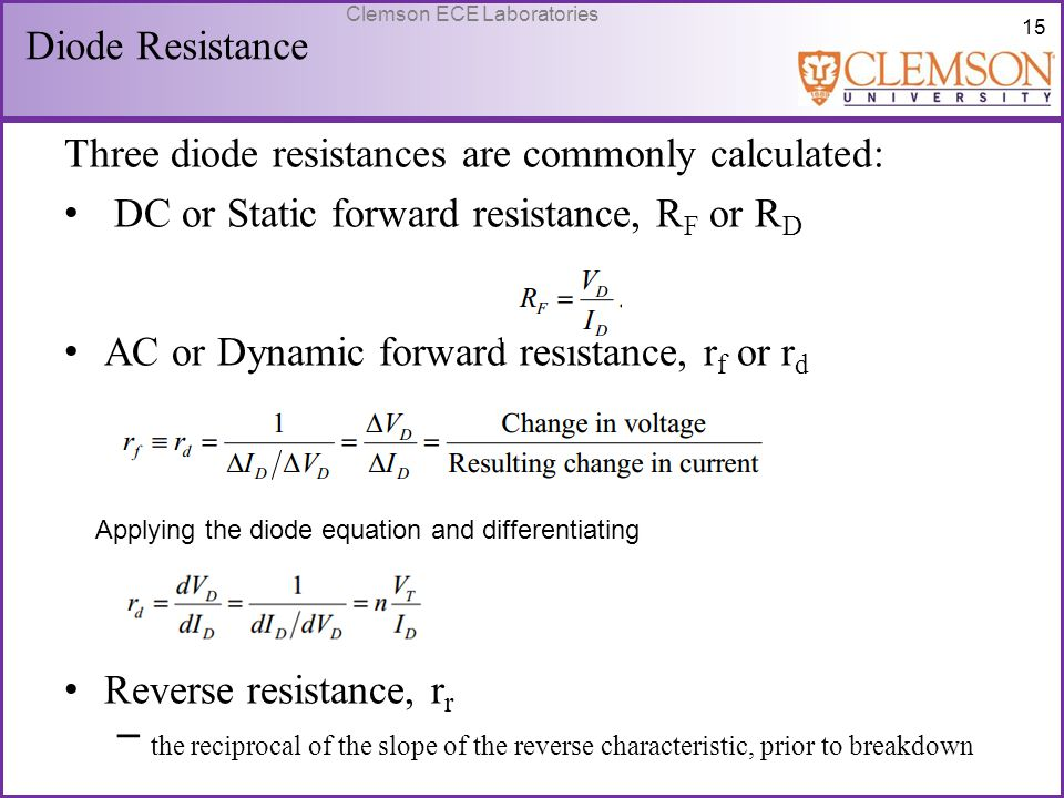Three diode resistances are commonly calculated:
