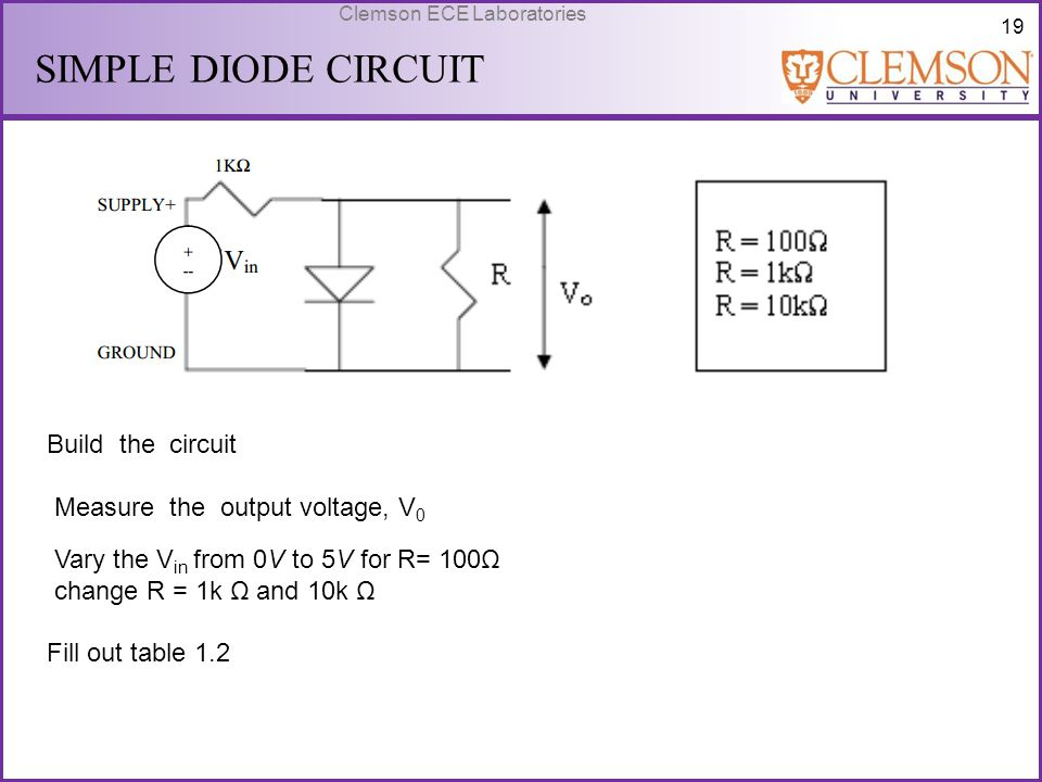 SIMPLE DIODE CIRCUIT Build the circuit Measure the output voltage, V0