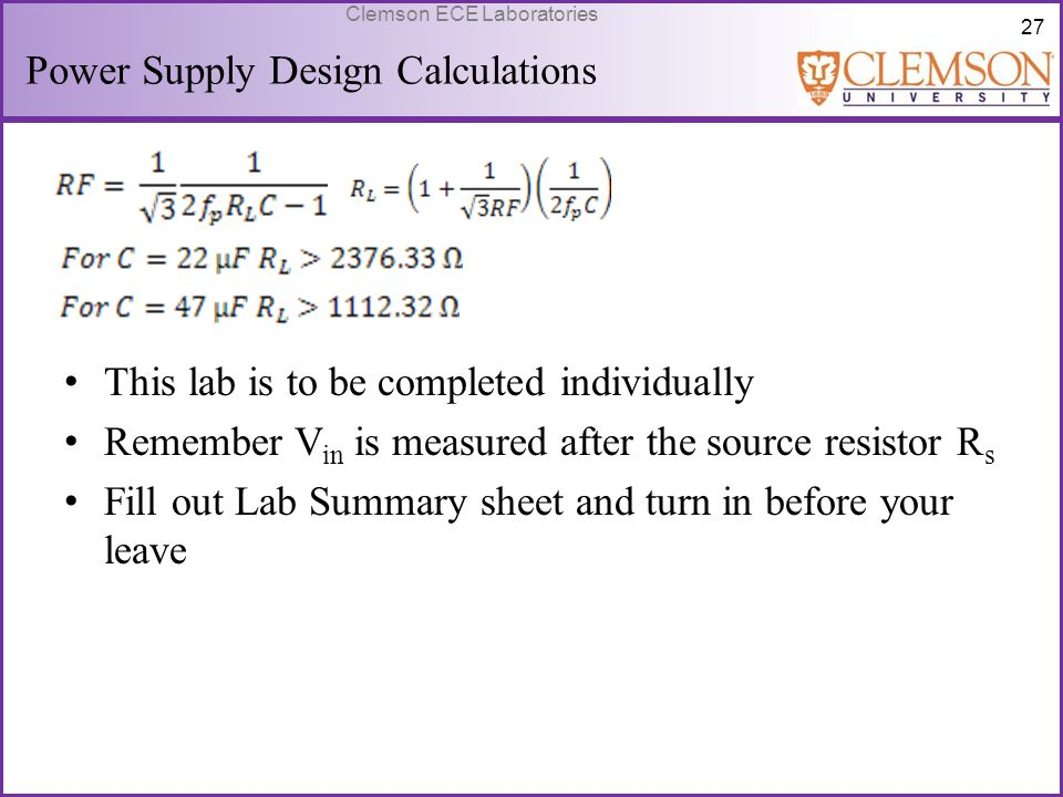 Power Supply Design Calculations
