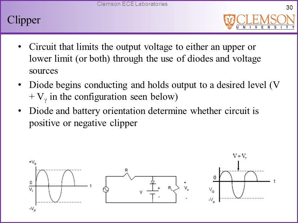 Clipper Circuit that limits the output voltage to either an upper or lower limit (or both) through the use of diodes and voltage sources.
