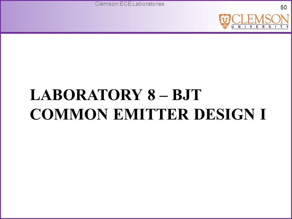 Laboratory 8 – bjt common emitter design I