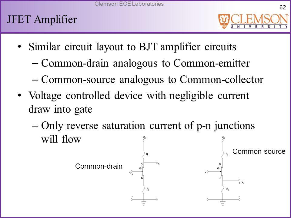 Similar circuit layout to BJT amplifier circuits