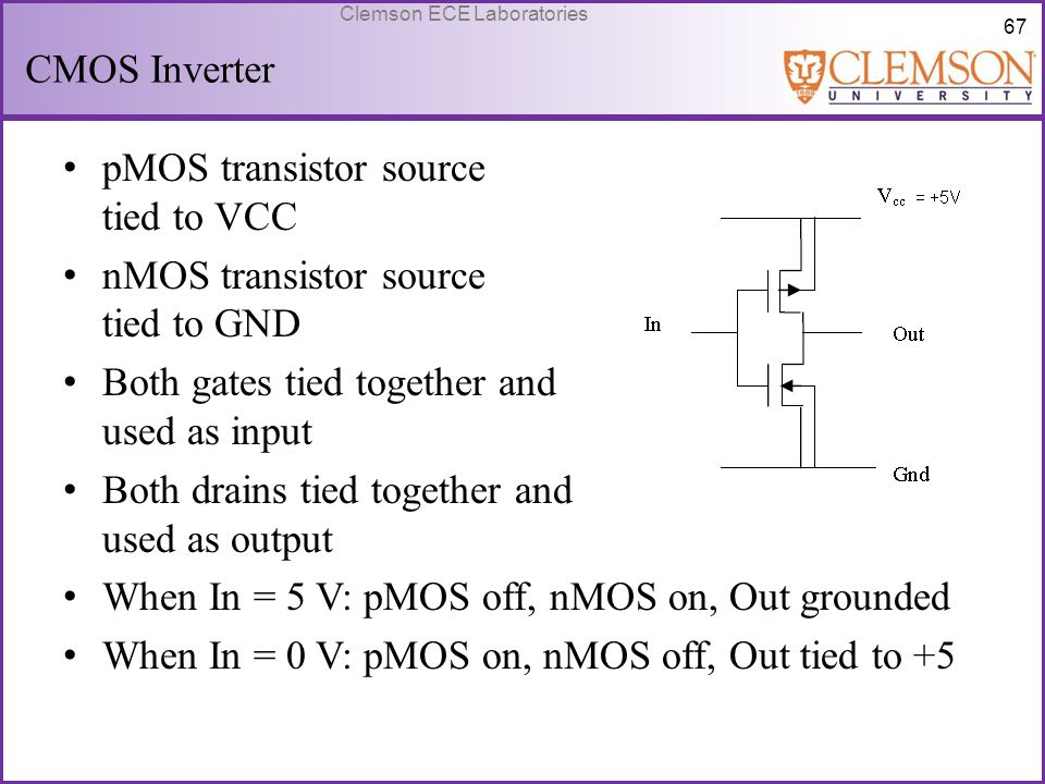 CMOS Inverter pMOS transistor source tied to VCC. nMOS transistor source tied to GND. Both gates tied together and used as input.