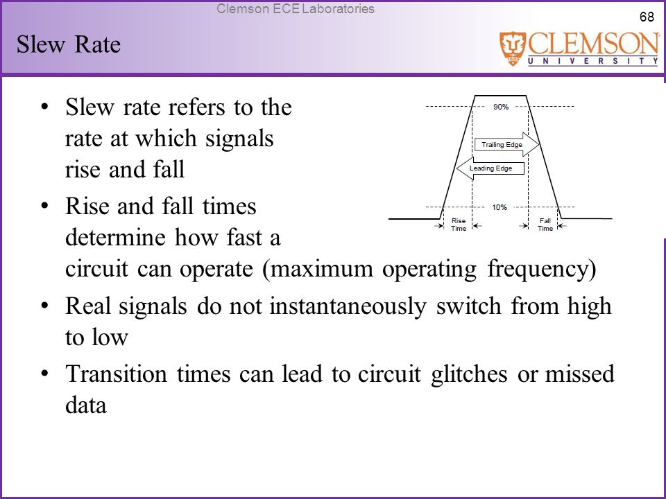 Slew Rate Slew rate refers to the rate at which signals rise and fall.