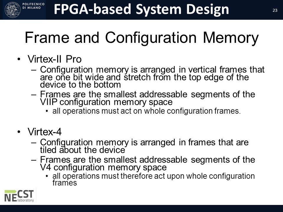 Frame and Configuration Memory