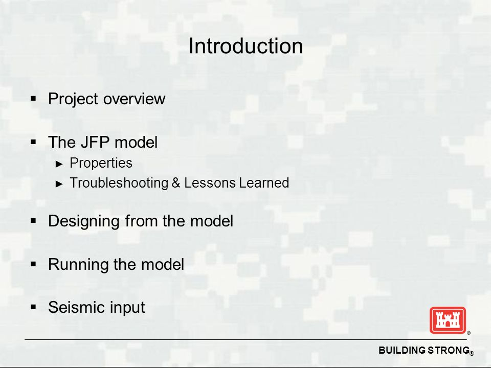 Introduction Project overview The JFP model Designing from the model