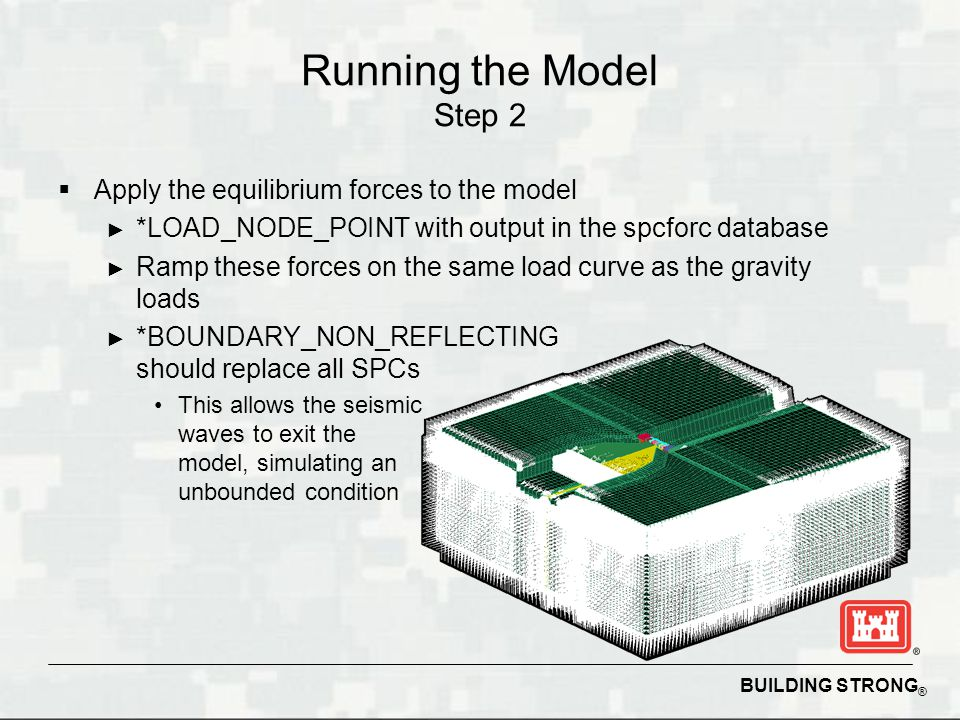 Running the Model Step 2 Apply the equilibrium forces to the model