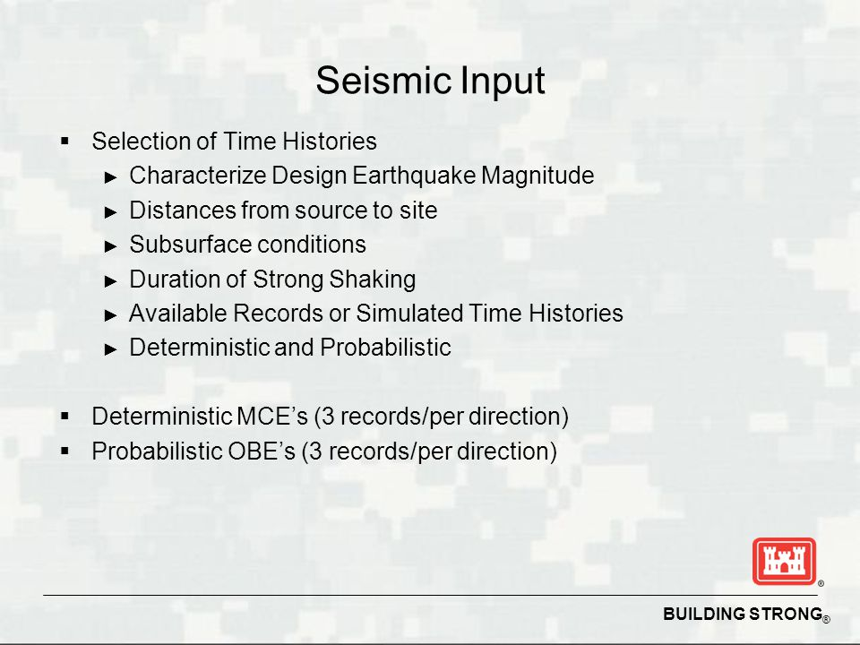 Seismic Input Selection of Time Histories