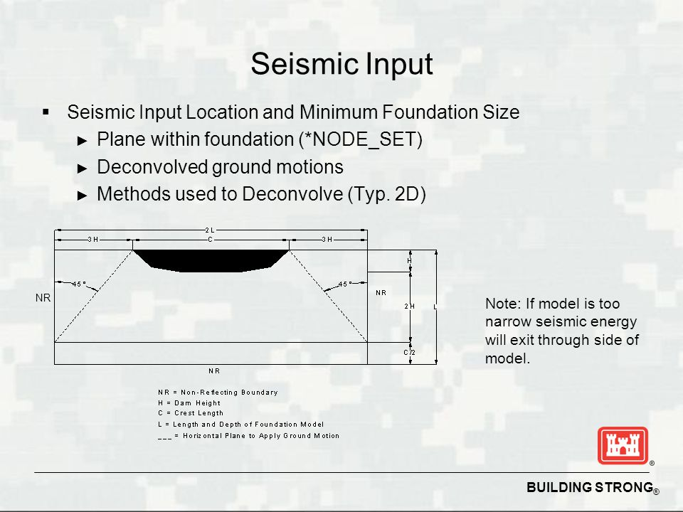 Seismic Input Seismic Input Location and Minimum Foundation Size