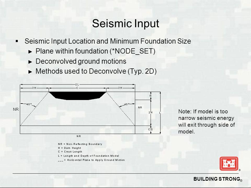 Seismic Input Seismic Input Location and Minimum Foundation Size