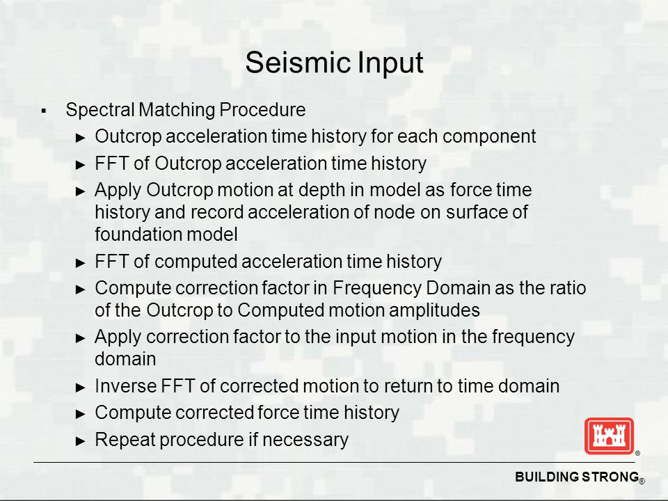 Seismic Input Spectral Matching Procedure