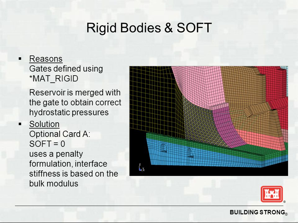 Rigid Bodies & SOFT Reasons Gates defined using *MAT_RIGID Reservoir is merged with the gate to obtain correct hydrostatic pressures.