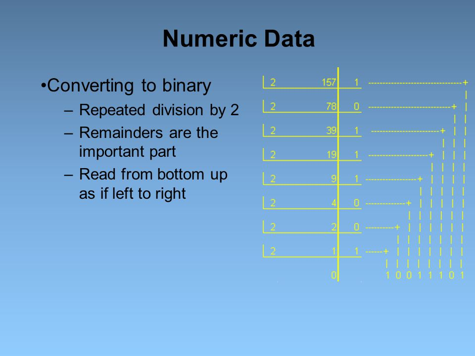 Numeric Data Converting to binary Repeated division by 2