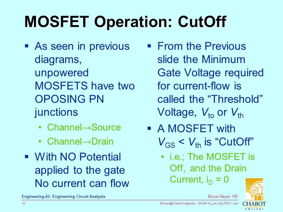 MOSFET Operation: CutOff